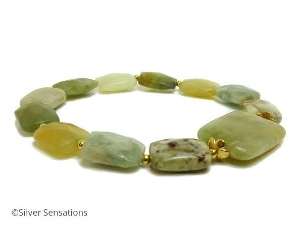 Marbled Greens & Yellows Flake Jade Beaded Bracelet | Silver Sensations